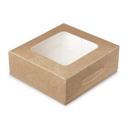 Box quadrato per alimenti in cartoncino finestrato